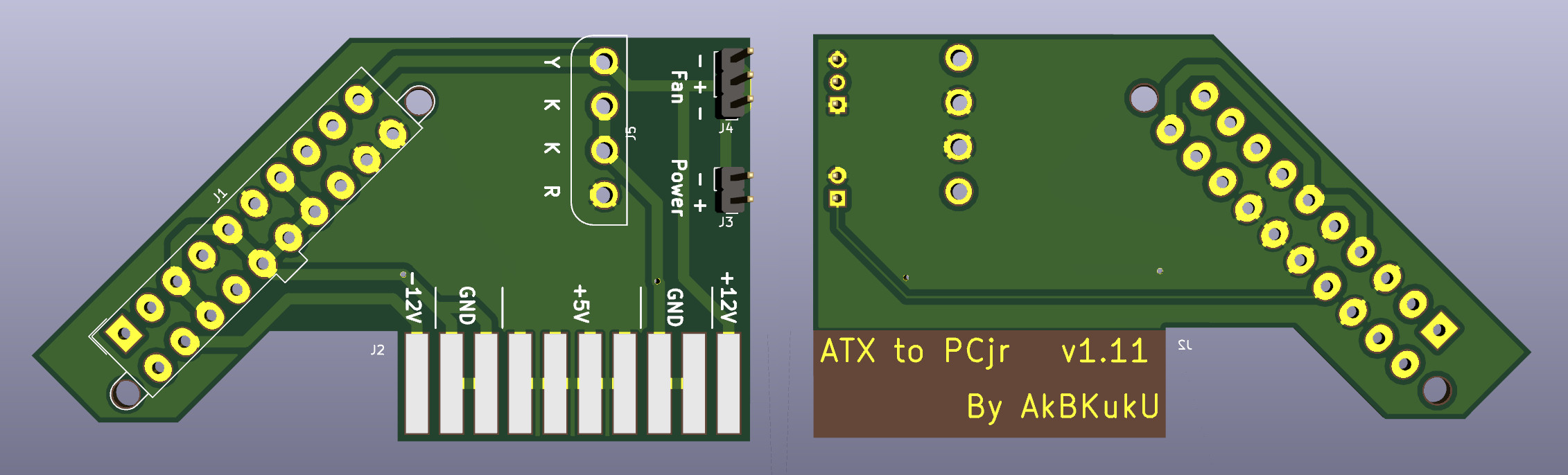 A 3d render of the adapter board