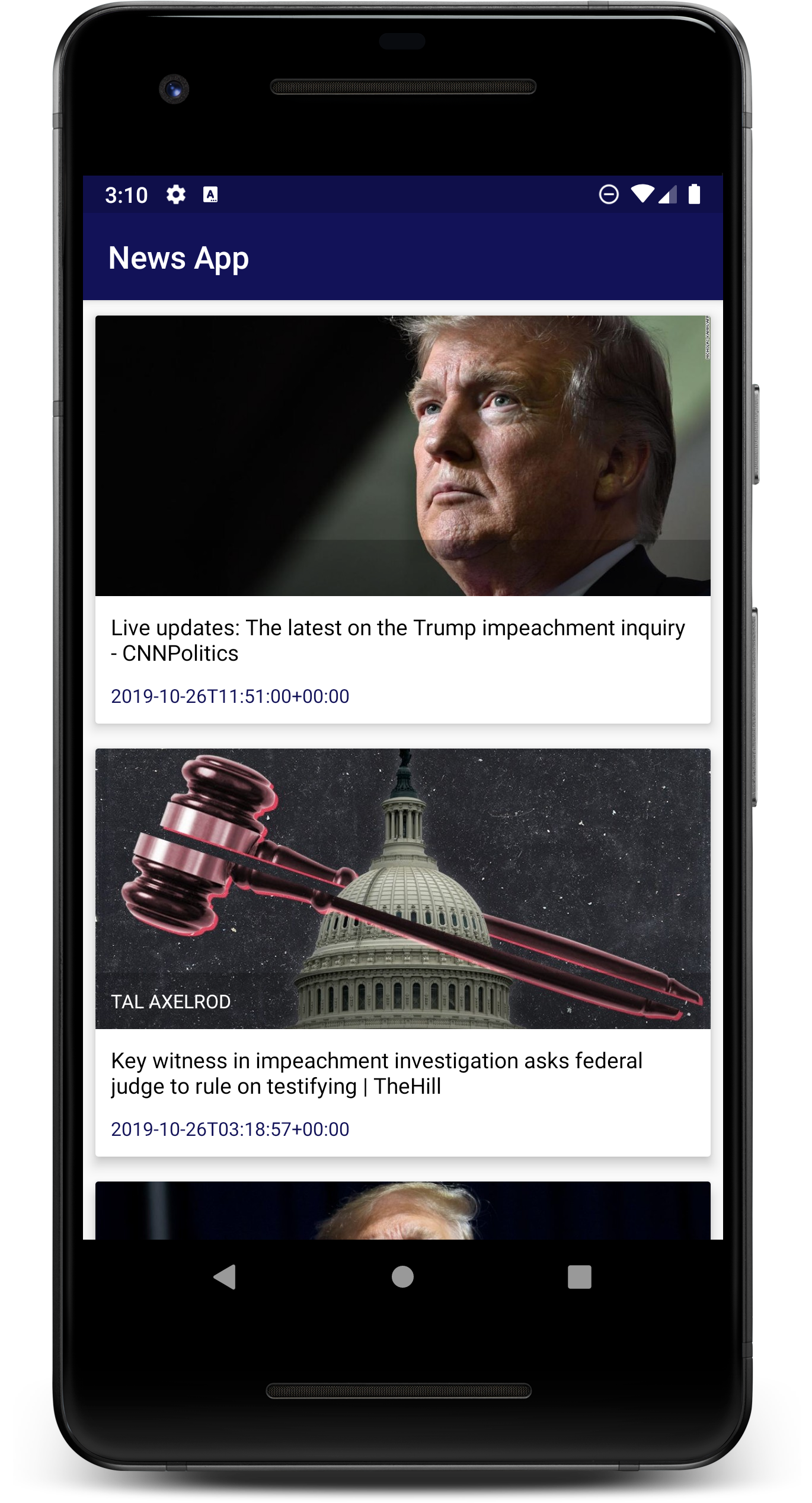 NewsApp Main Page