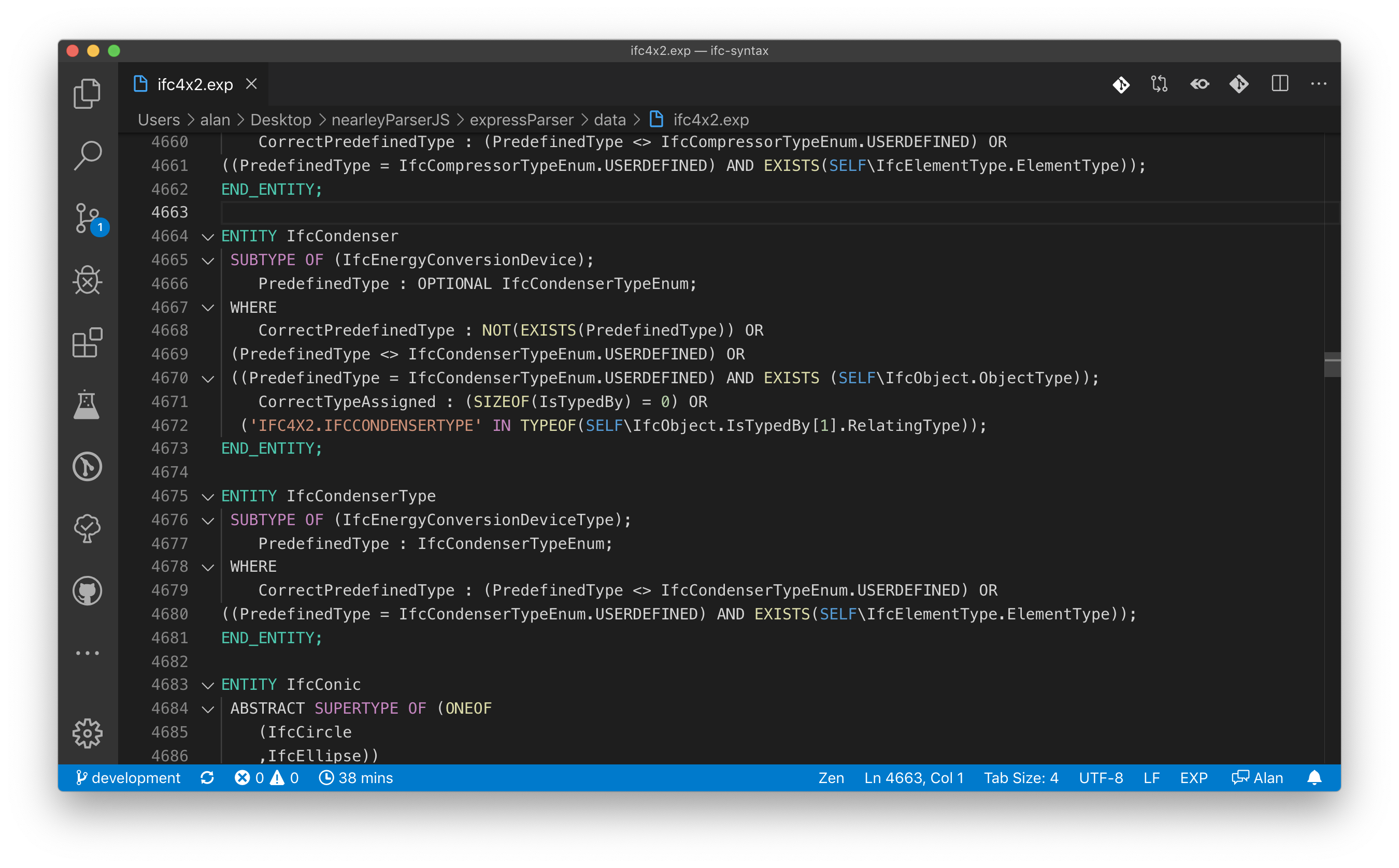 Example of express file using a dark theme