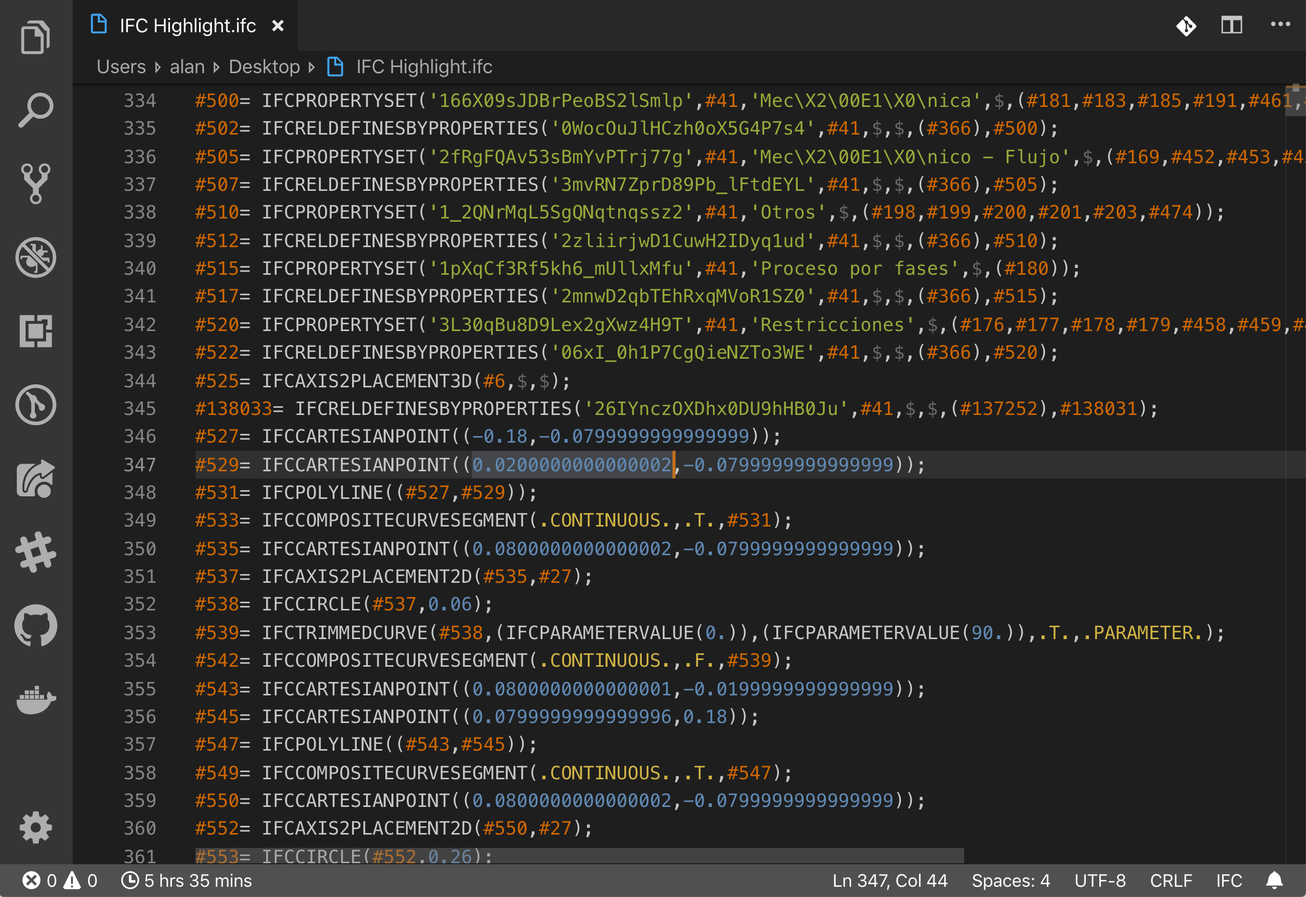 Example of dark theme with IFC Syntax extension