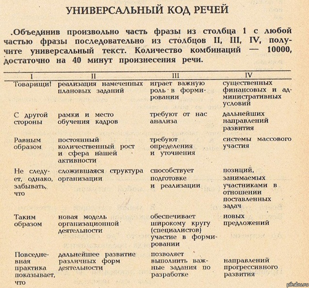 Выдержка из старого советского документа с таблицей с универсальным кодом речей