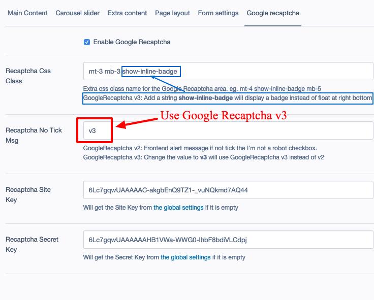 Set up Google Recaptcha v3