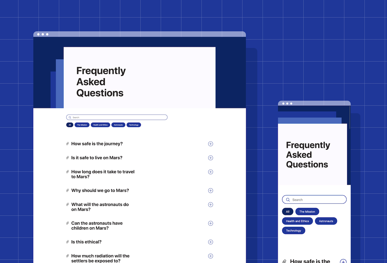 Mockups of gatsby-theme-faqs-prismic in action