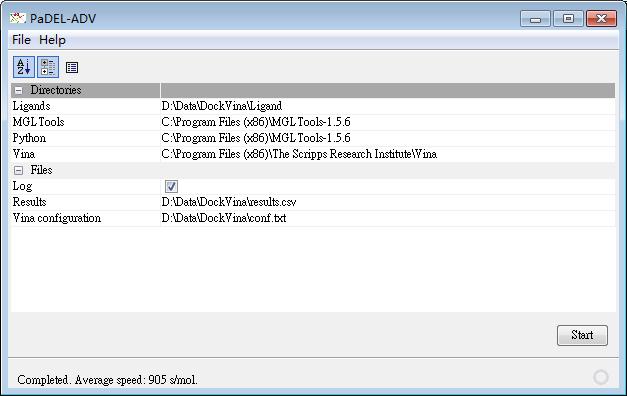 PaDEL-ADV运行界面