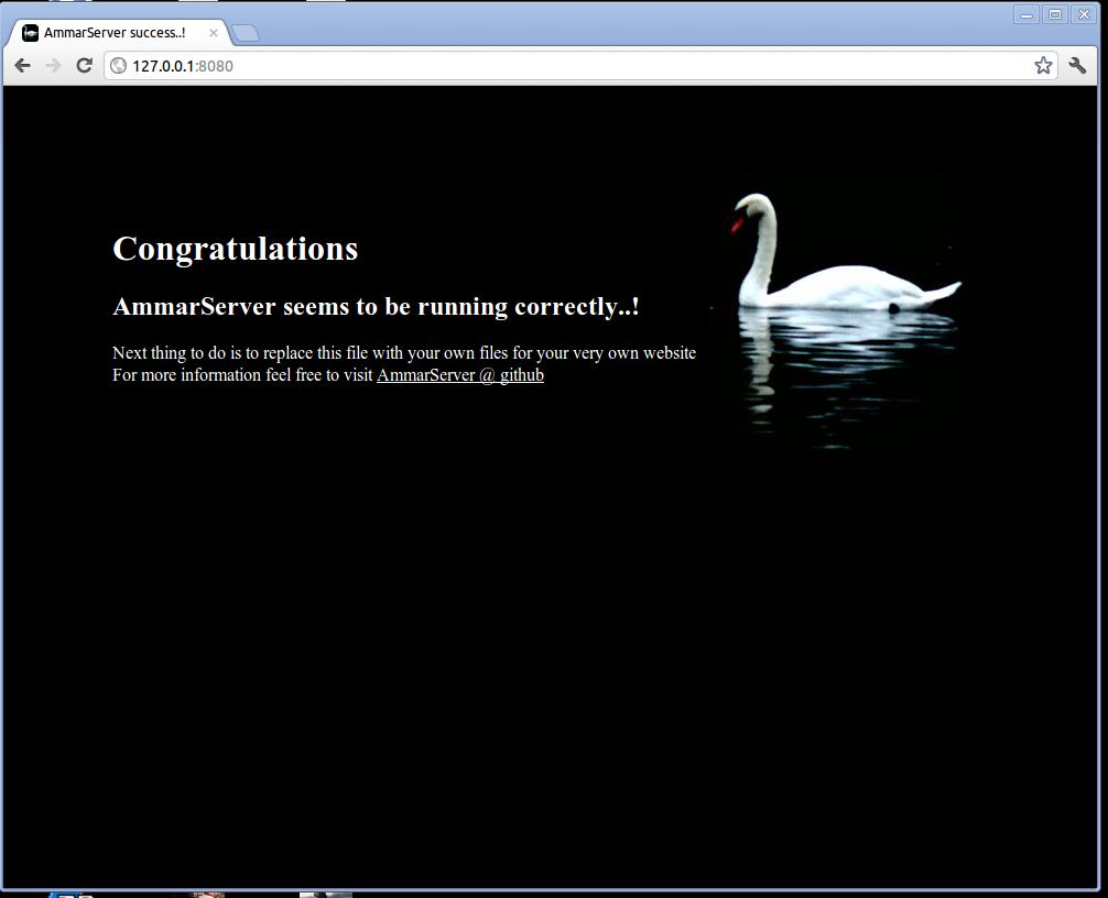 AmmarServer default page viewed on a browser