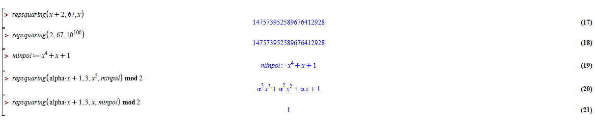 alt Finite field polynomial test of irreducibility - repsquaring