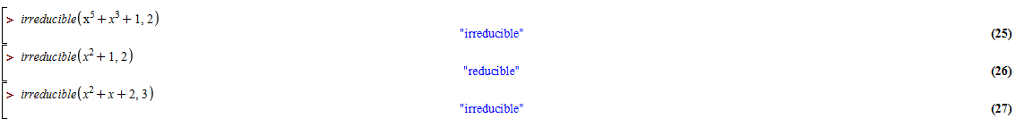 alt Finite field polynomial test of irreducibility examples