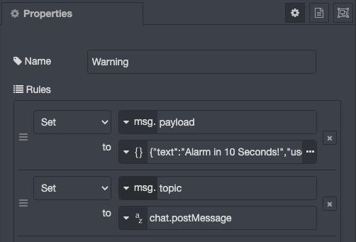 50 Second Slack Function Configuration