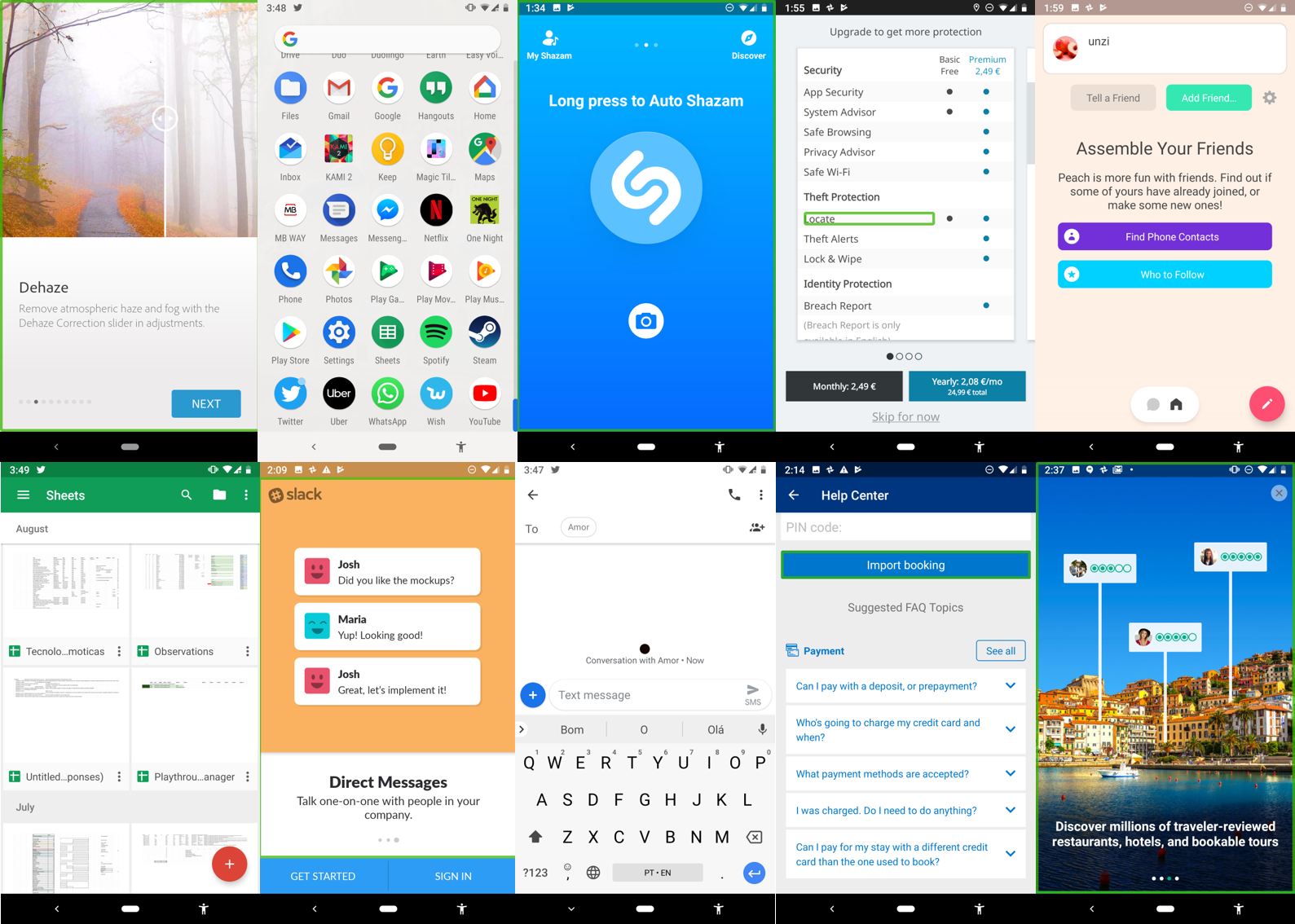 10 different smartphone applications with 10 very different interfaces.