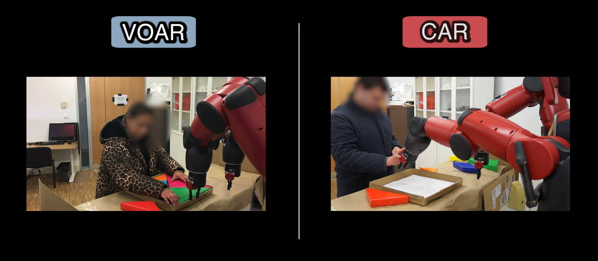 Two blind people doing a tagram puzzle with the help of a robot. One the robot is helping the user with its arms (Condition CAR); in the other the robot is still just providing audio instructions (Condition VOAR).