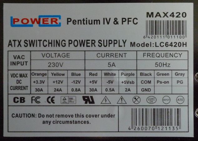 ATX PSU label