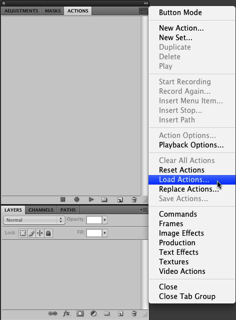 "Select the ""Load Actions..."" menu item to import the actions pack"
