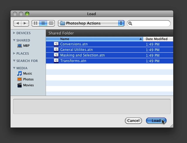 Select the actions files in the Load dialogue window and click load.