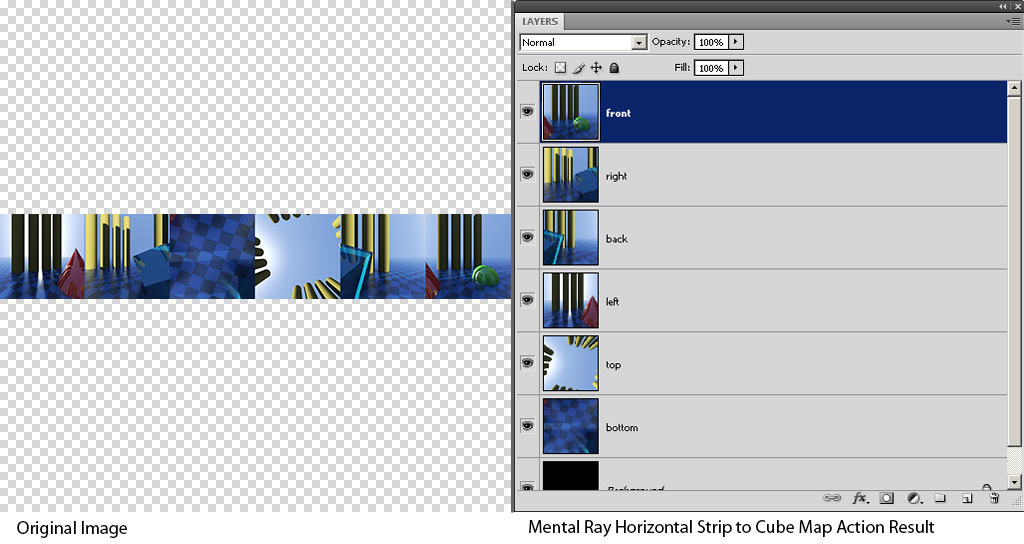 Mental Ray Horizontal Strip to Cube Map Example