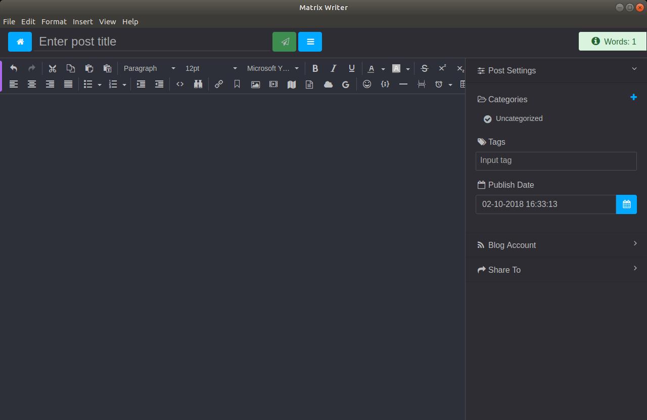 Writer editor on ubuntu