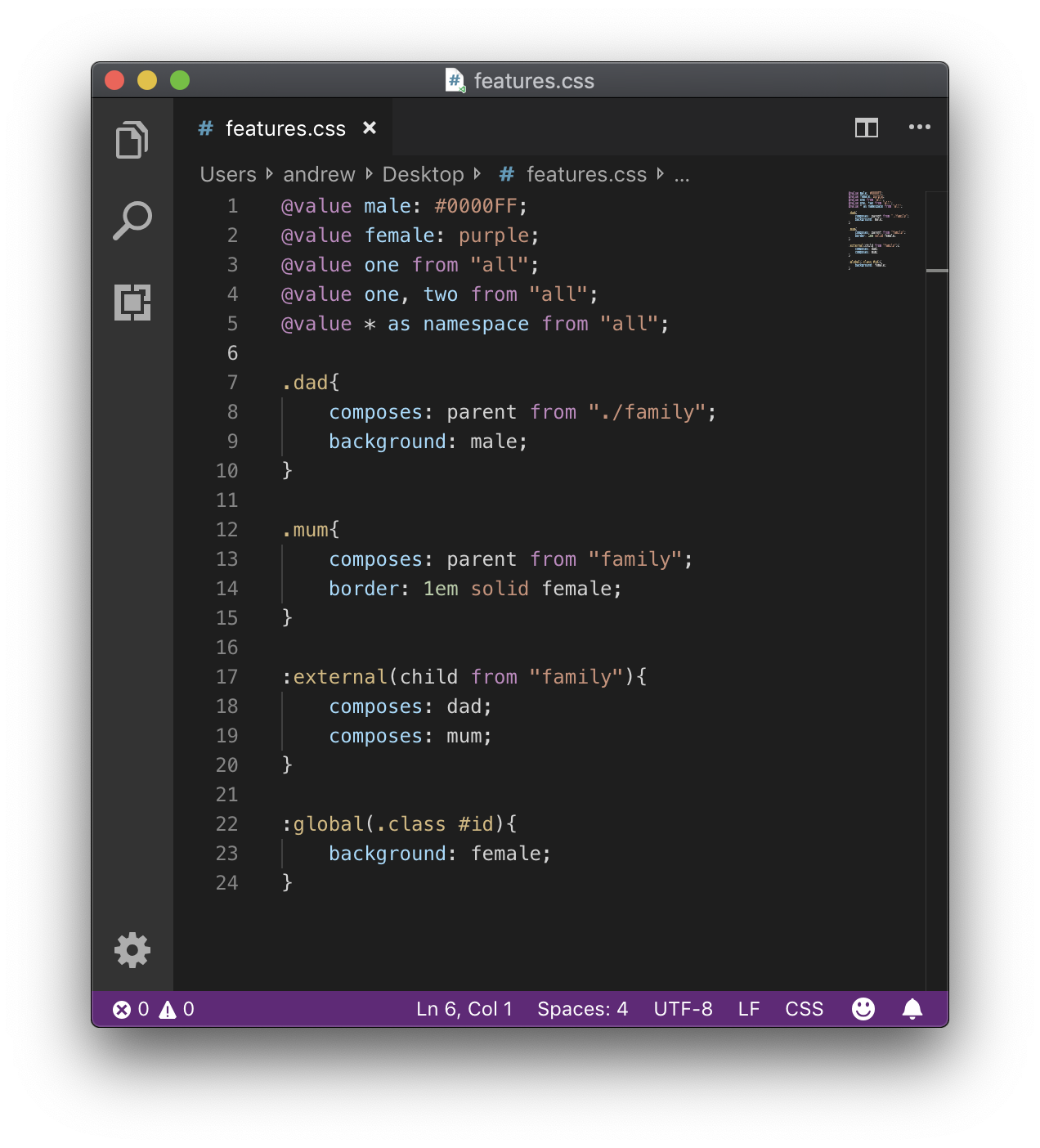 VSCode Window showing the plugin in action