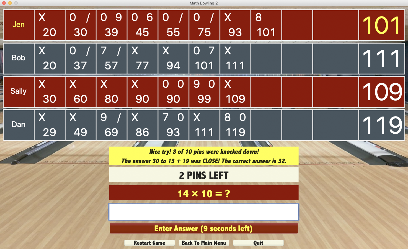 Math Bowling App Screenshot
