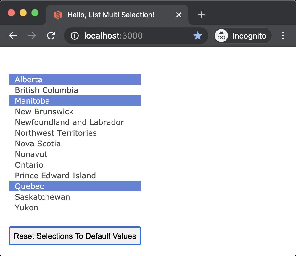 Glimmer DSL for Opal Hello List Multi Selection