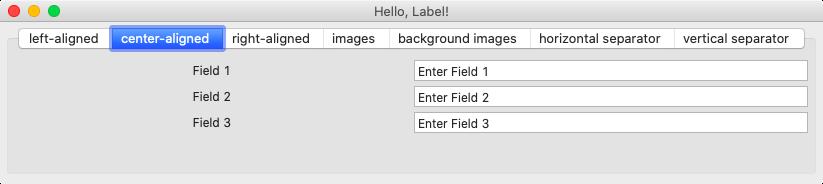 Hello Label Center Aligned