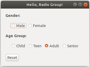 Glimmer DSL for SWT Hello Radio Group