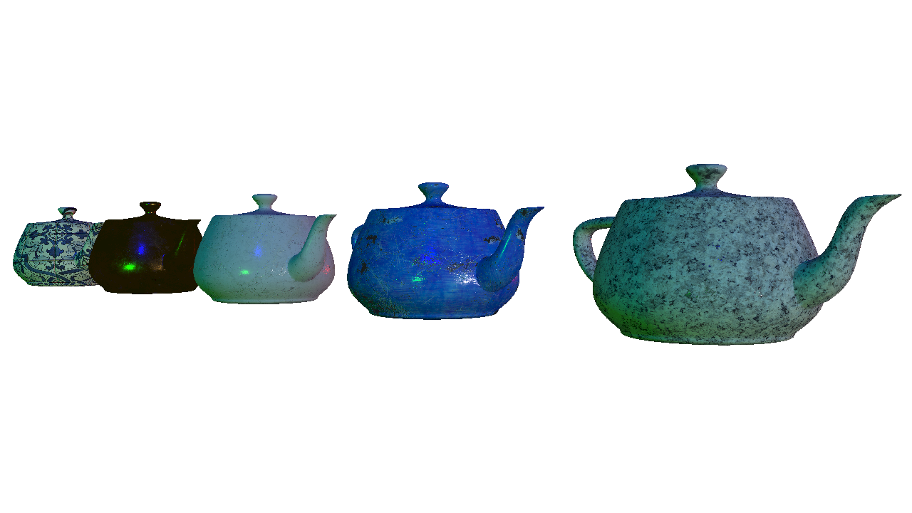 Utah teapots with 5 different materials