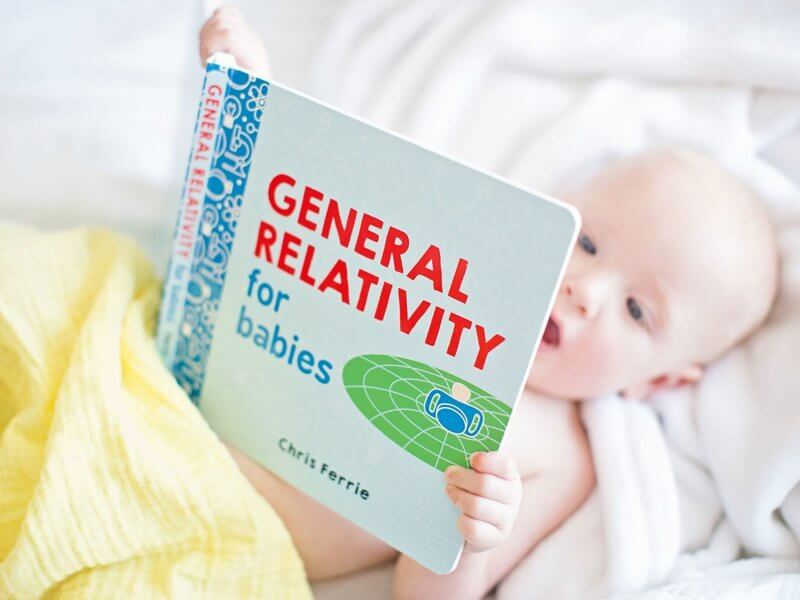 Baby studying general relativity