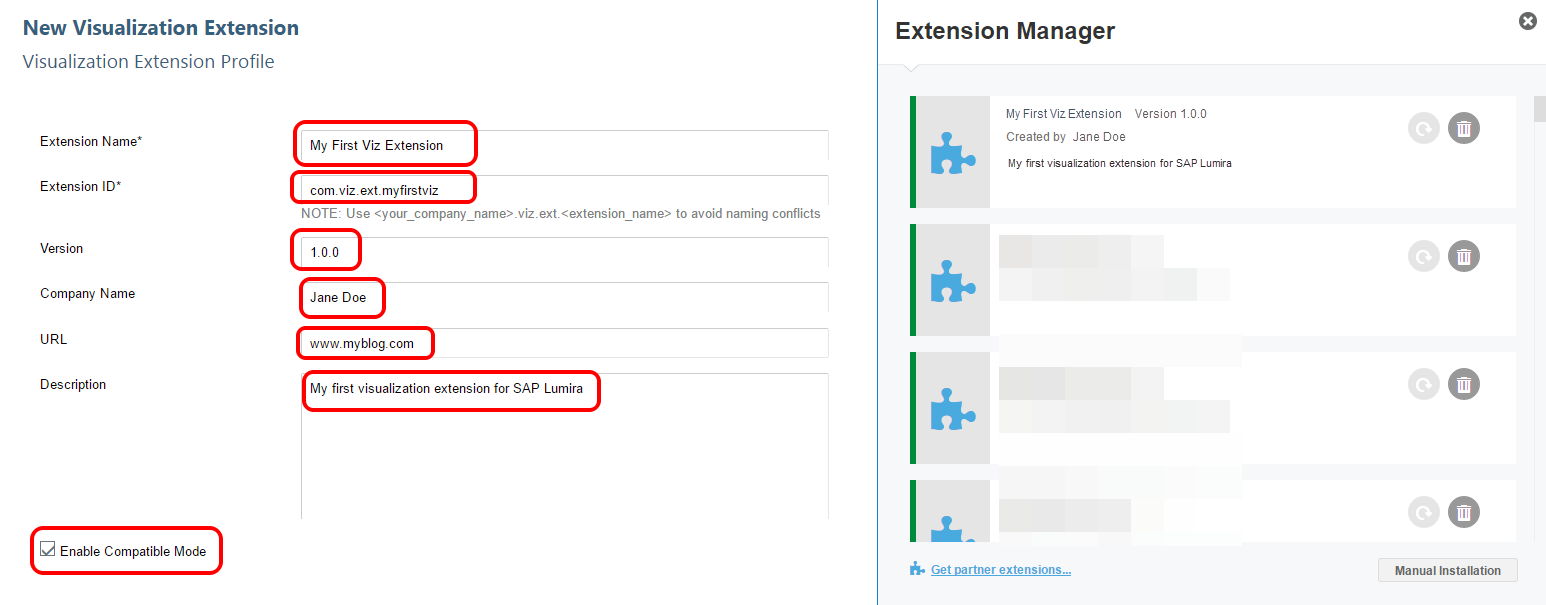 SAP Web IDE Lumira extension profile fields