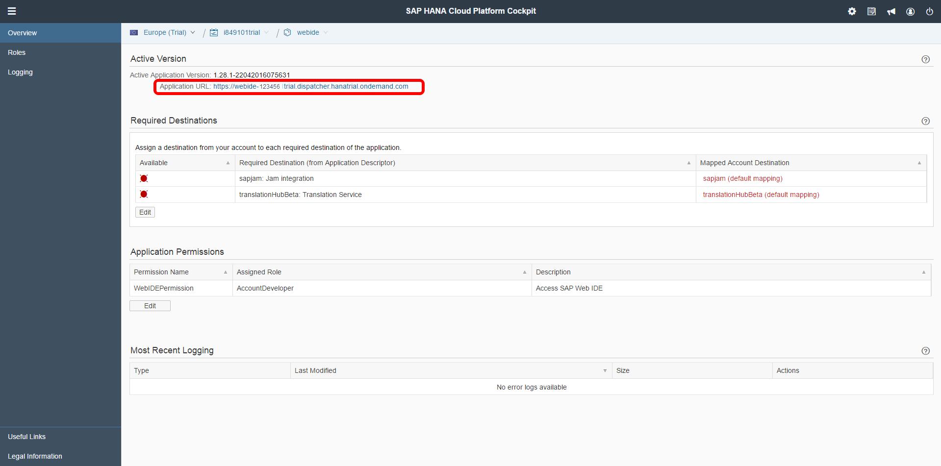 SAP Web IDE URL