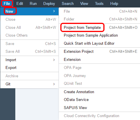 SAP Web IDE Lumira extension create new project