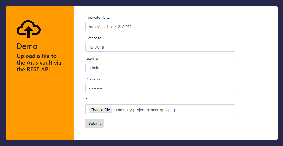 Screenshot of the rest-upload-example community project on GitHub
