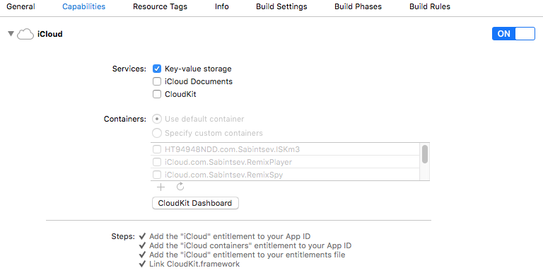 How to turn on iCloud Key Value Store Syncing