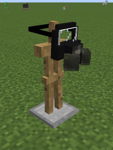 Respirator on an armor stand