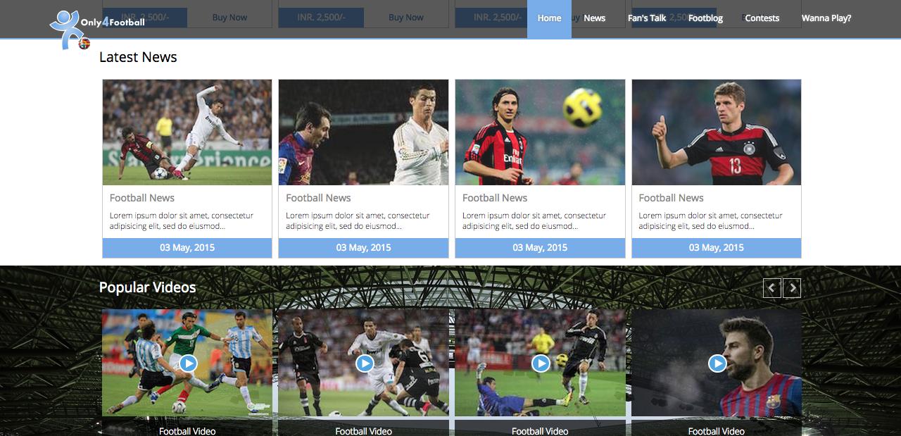 Bootstrap Football Theme Screenshot 3
