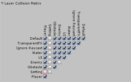 设置Layer Collision Matrix