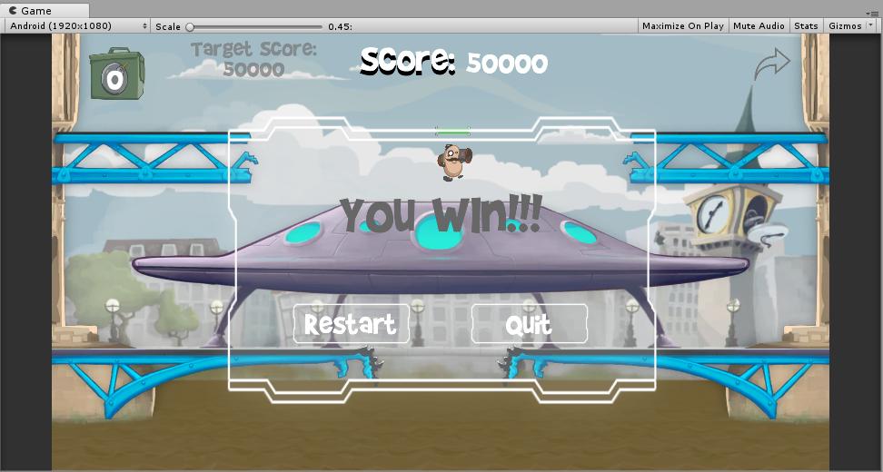 添加游戏结束UI之后的游戏场景