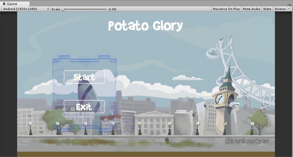 添加UI之后的游戏菜单场景