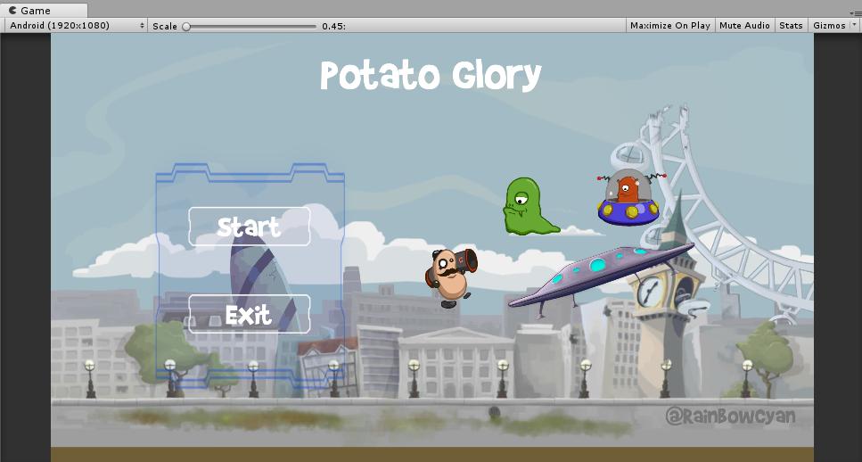 添加GameObject之后的游戏菜单场景