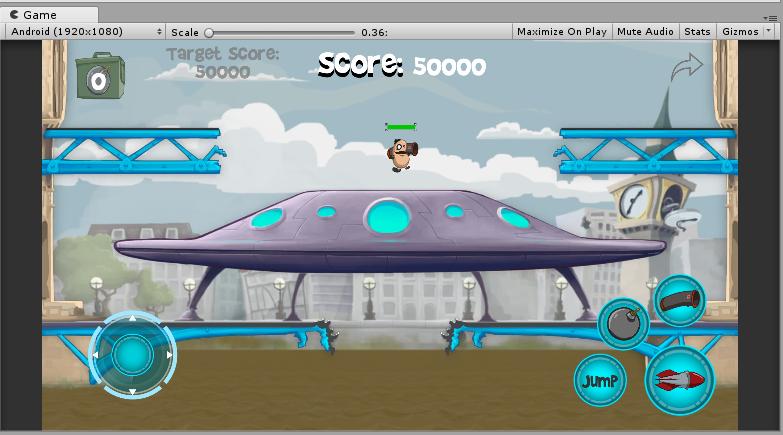 添加完虚拟摇杆和按钮之后的效果图