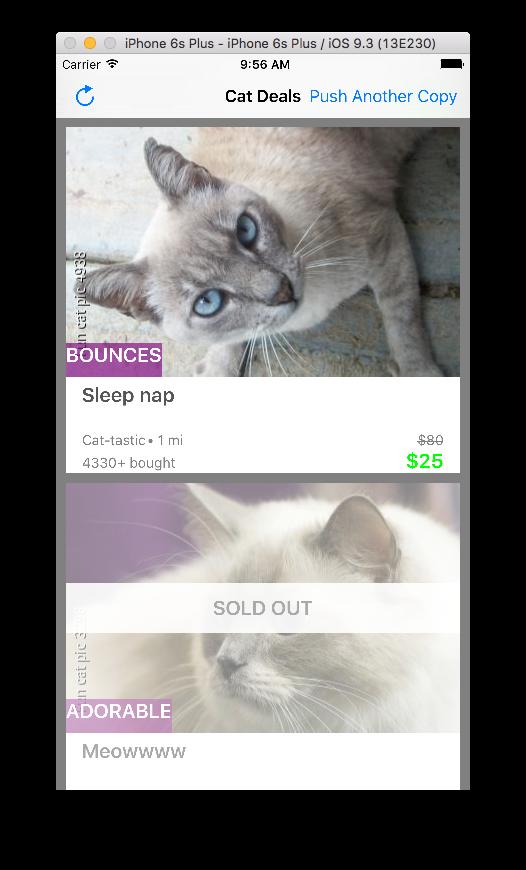 CatDealsCollectionView Example App Screenshot