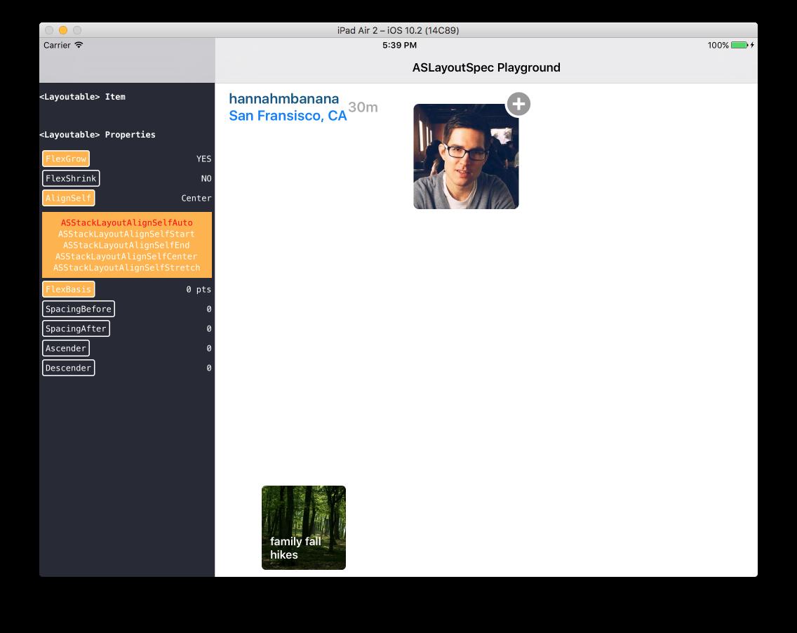 LayoutSpecPlayground Example App Screenshot
