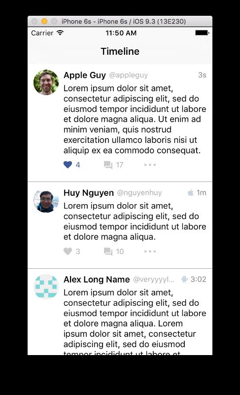SocialAppLayout Example App Screenshot