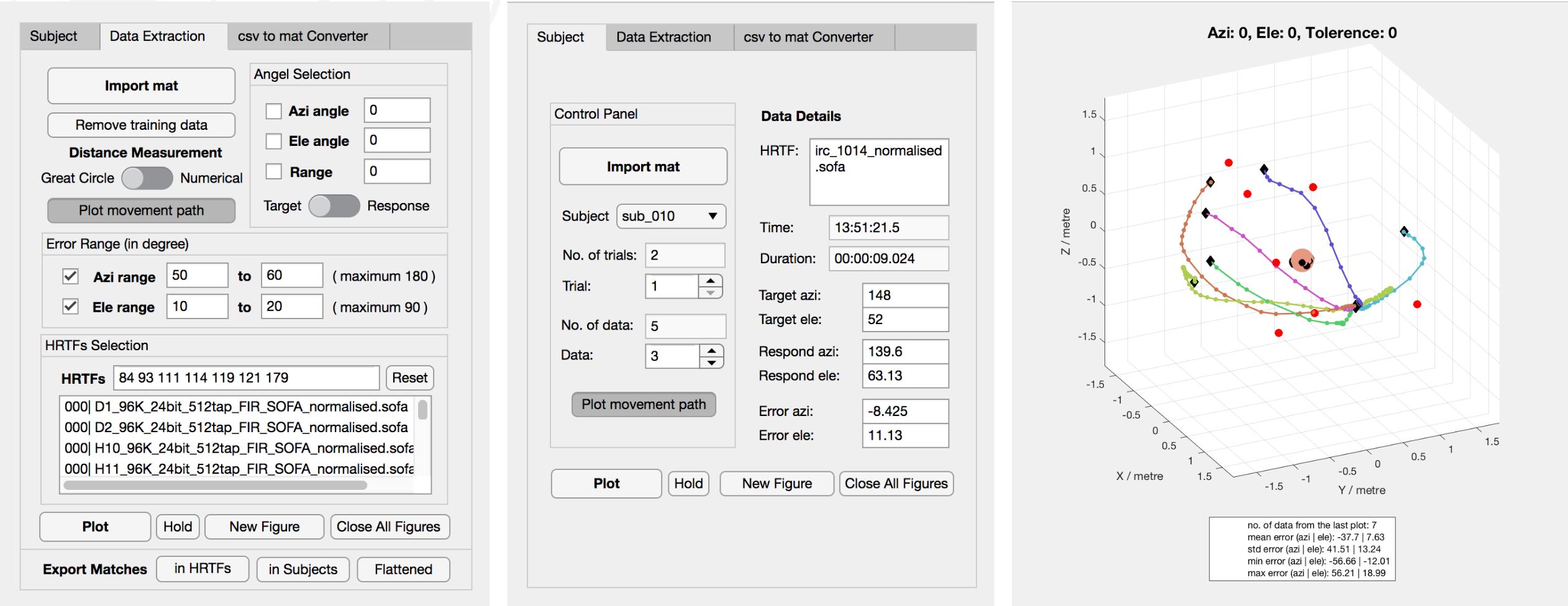 MATLAB app for localsiation test data