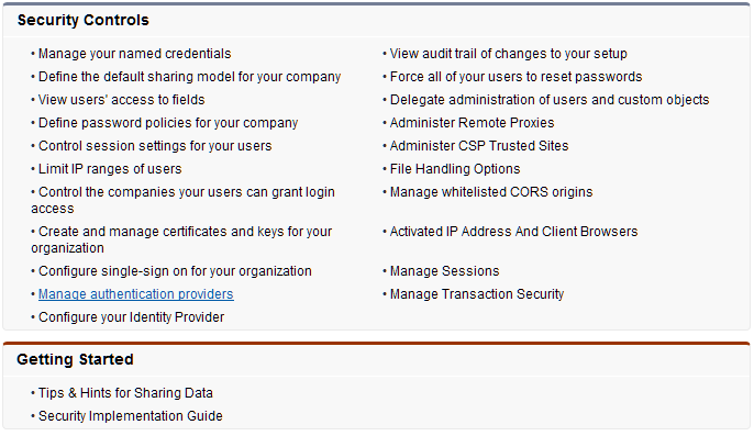 Manage Authentication Providers