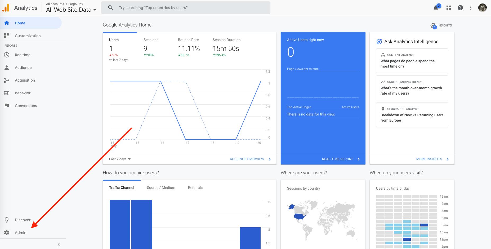 google analytics admin button