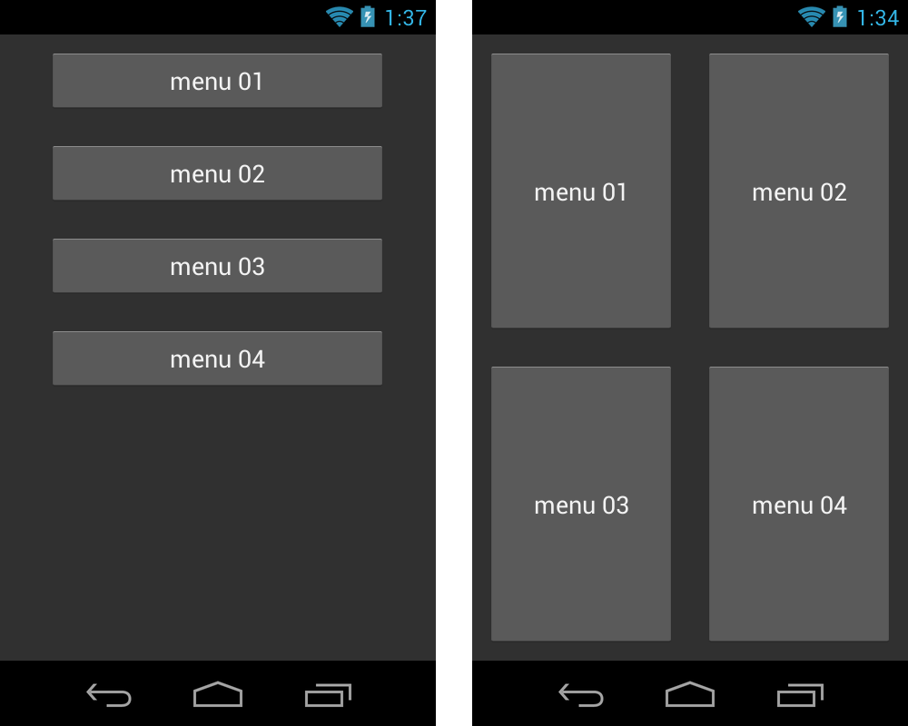 changes Android layout dynamically