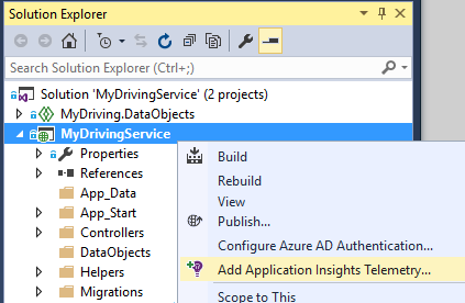 Interface for selecting Add Application Insights to add custom telemetry
