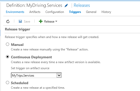 Interface for setting the release trigger to continuous deployment