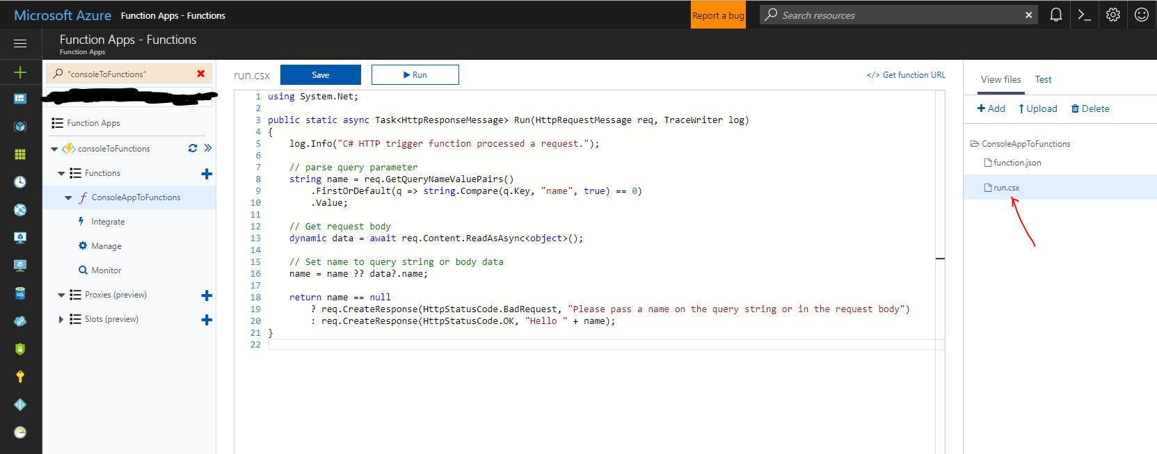Adding code to run.csx