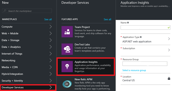 Create Application Insights Resource