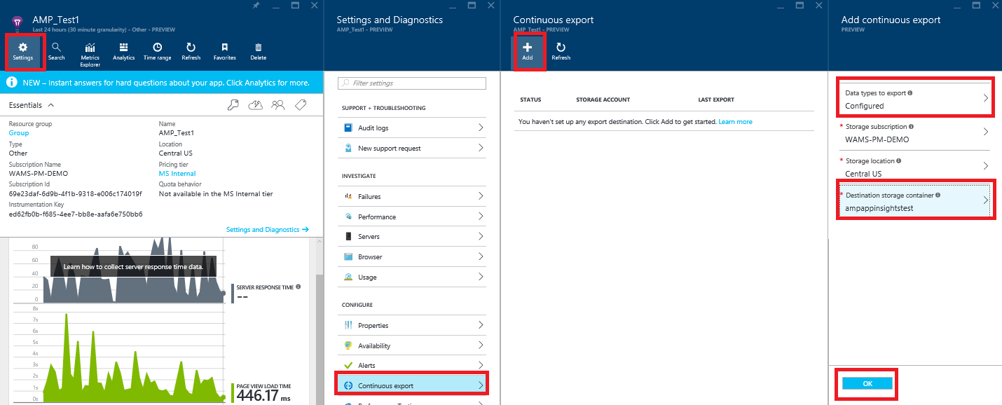 Continuous Export from Application Insights